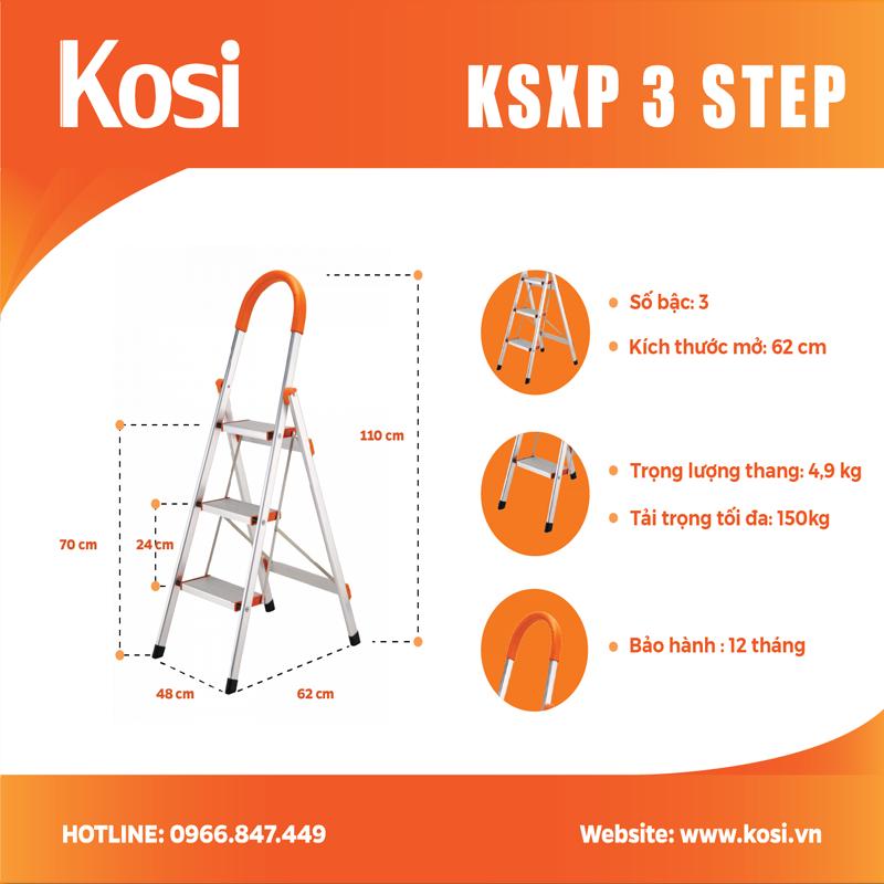 Thang ghế inox KSXP – 3 STEP 1