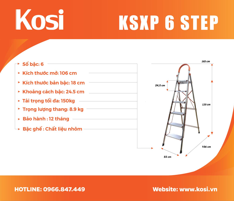 Thang ghế inox KSXP - 6 STEP 1