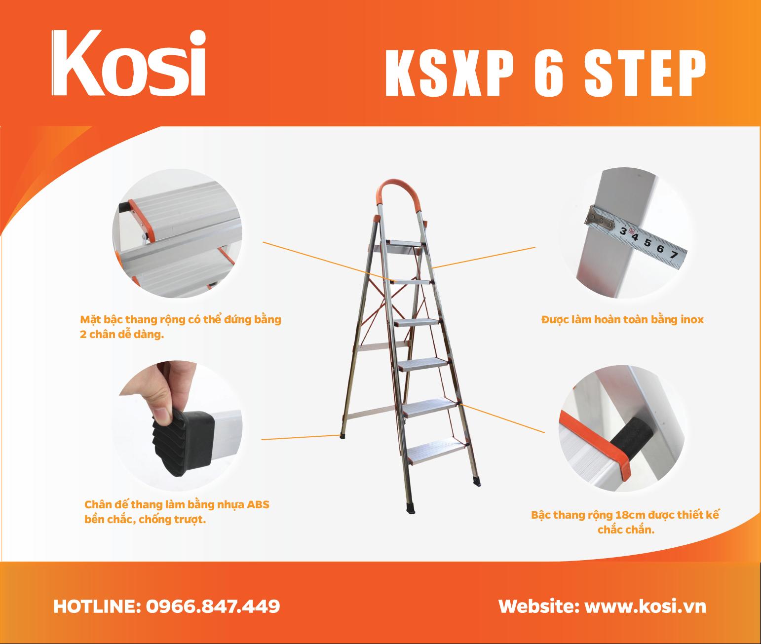 Thang ghế inox KSXP - 6 STEP 2