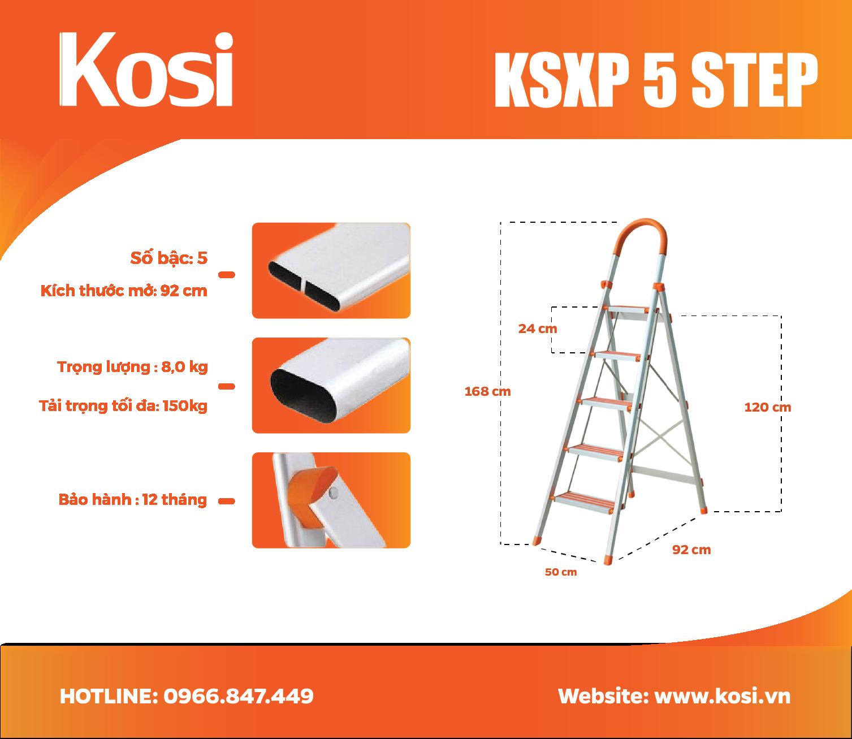 Thang ghế inox KSXP – 5 STEP 1