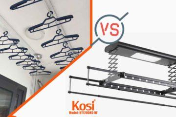 So sánh giàn phơi điện tử và giàn phơi truyền thống Kosi